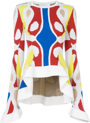 Esteban Cortazar colour-block peplum top
