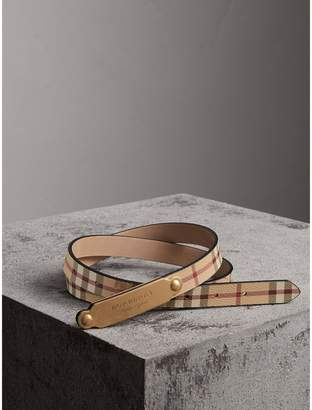 Burberry Plaque Buckle Haymarket Check and Leather Belt