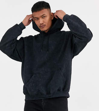 Reclaimed Vintage inspired oversized hoodie in washed black