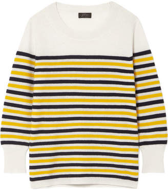 J.Crew Layla Striped Cashmere Sweater - Cream