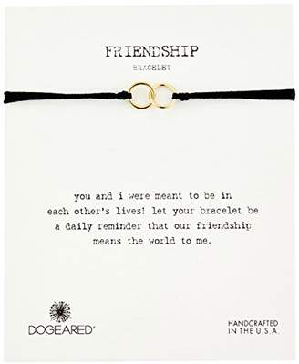 Dogeared Modern Wrist Friendship Double-Linked Rings with Adjustable Bead Closure Sterling Silver Bracelet