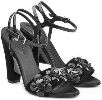 Fendi Velvet and Leather Sandals