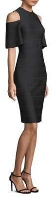 Shoshanna Ribbed Cold-Shoulder Dress