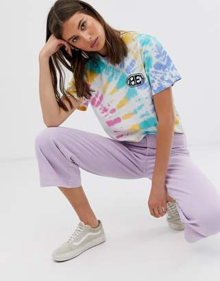 Obey relaxed t-shirt with chest and back logo in rainbow tie dye