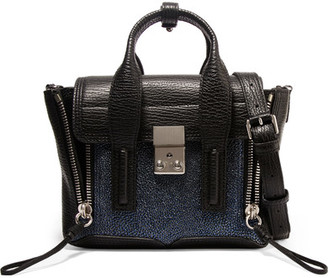 3.1 Phillip Lim - The Pashli Mini Textured And Stingray-effect Leather Trapeze Bag - Black $750 thestylecure.com