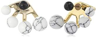 Noir Semi Precious Triple Sphere Gold Earring Jackets