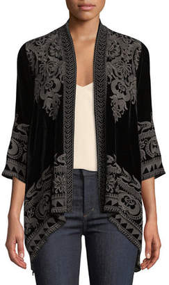 Johnny Was Hirsch Embroidered Velvet Draped Cardigan