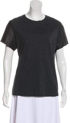 Vince Leather-Trimmed Short Sleeve T-Shirt