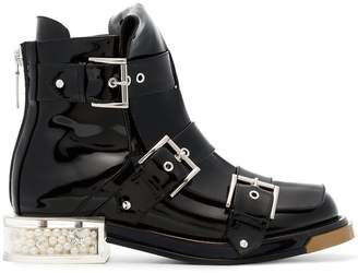 Alexander McQueen Black Buckle 35 Patent Leather Boots