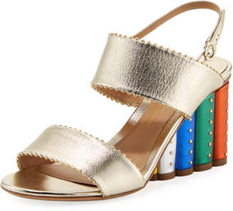 Salvatore Ferragamo Metallic City Sandal with Rainbow Heel