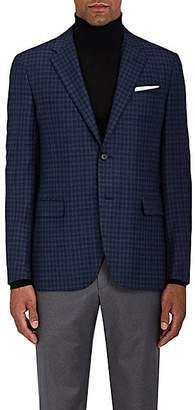 Barneys New York MEN'S CHECKED WOOL-SILK TWO-BUTTON SPORTCOAT - NAVY SIZE 36 R