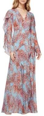 BCBGMAXAZRIA Kalen Silk Chiffon Floral-Print Dress