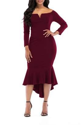 KISSMODA Women's Party Dress Slim Fit Unique Skirt Solid Color Wine Red