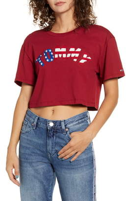 Tommy Jeans USA Flag Crop Tee