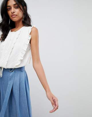 Moon River frill detail shell top