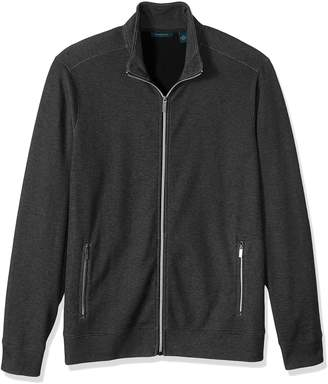 Perry Ellis Men's Solid Heathered Full Zip Knit Jacket Shirt,