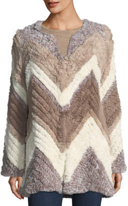 Bagatelle Chevron-Knitted Faux-Fur Jacket
