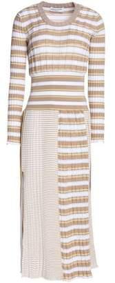 Sonia Rykiel Striped Ribbed Cotton-Blend Midi Dress