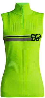 Prada Logo Jacquard High Neck Top - Womens - Green Multi