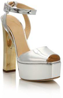 Giuseppe Zanotti Metallic Leather Platform Sandals $795 thestylecure.com