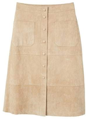 MANGO Buttoned suede skirt