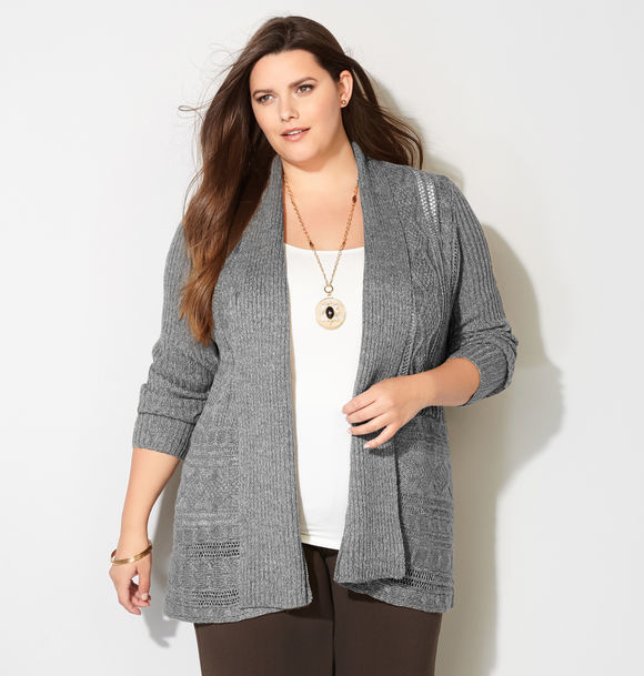 Marled Cable Trim Cardigan