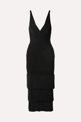 Herve Leger Fringed Bandage Midi Dress - Black