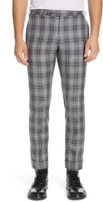 Eidos Deven Flat Front Plaid Cotton Blend Trousers