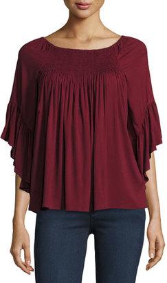 Ella Moss Stella Smocked Flutter-Sleeve Top, Port $148 thestylecure.com
