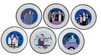 Philippe Deshoulieres 6-Piece Deco Canape Plate Set
