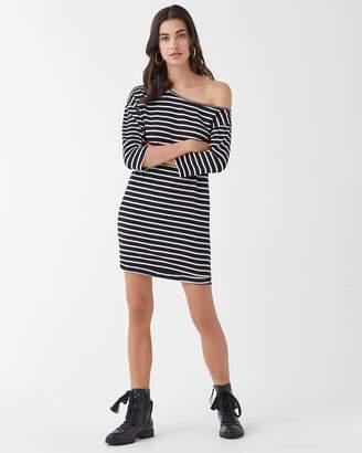 Splendid Super Soft French Terry Neptune Stripe Off Shoulder Dress