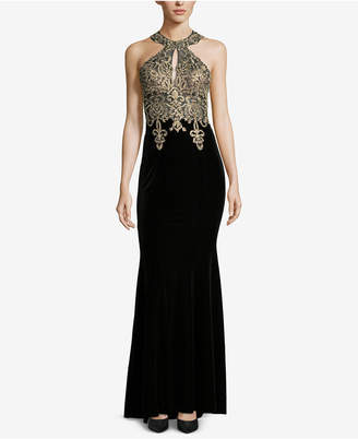 Xscape Evenings Petite Embroidered Velvet Gown