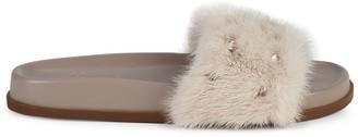 Valentino Studded Mink Fur Slides