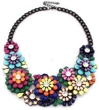 Shourouk PSEZY_VINTAGE_Necklace PSNECK Flower Choker Resin Rhinestone Statement Necklaces Vintage Jewelry Dress