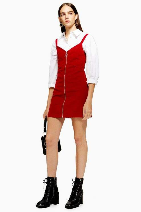 Petite Corduroy Zip Through Dress