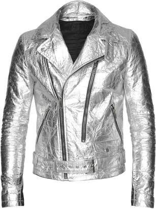 ALTIIR - Men's Neo-Classic Biker Jacket In Silver