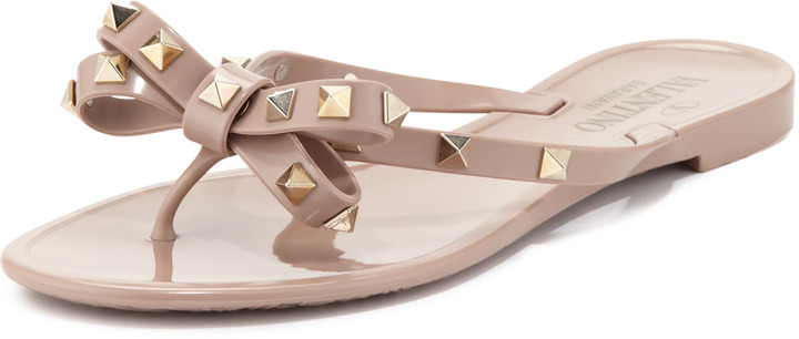 Valentino Rockstud PVC Thong Sandal, Nude