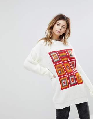 Rokoko Oversized Sweater With Crochet Panels