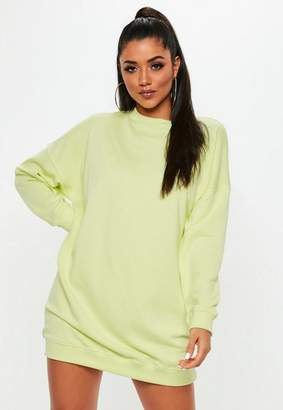 Missguided Lime Fluro Long Sleeve Oversized Sweater Dress, Green