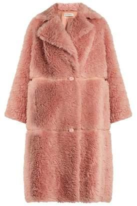 Vika Gazinskaya Notch-lapel faux-leather trimmed alpaca-blend coat