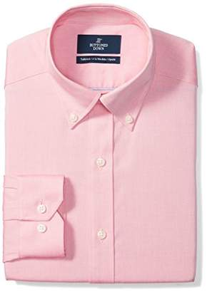 Buttoned Down Men's Tailored Fit Button-Collar Solid Non-Iron Dress Shirt