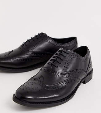 Asos Design DESIGN brogue shoes in black leather