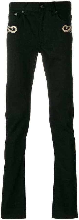 Roberto Cavalli embroidered skinny jeans
