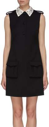 Prada Embellished collar cargo pocket virgin wool sleeveless dress