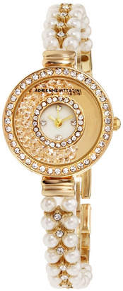 Adrienne Vittadini Collection Women Gold Analog Quartz Watch with Mother of Pearl Dial and Stone Accent Strap