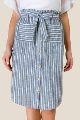 francesca's Tessa Button Down Midi Skirt - Navy