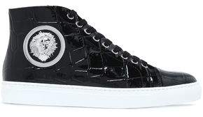 Versace Embellished Croc-effect Patent-leather High-top Sneakers