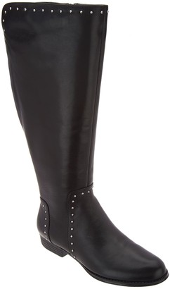 Isaac Mizrahi Live! Medium Calf Studded Leather Riding Boot