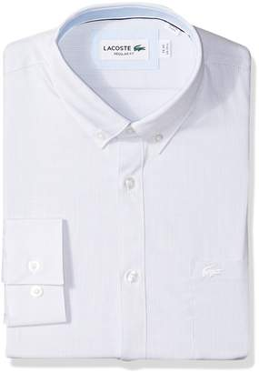 Lacoste Men's Long Sleeve Button Down with Pocket Textured Solid Poplin