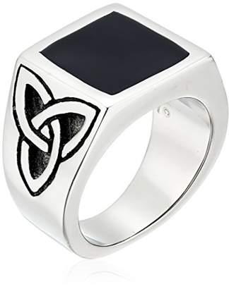 Celtic Men's Stainless Steel Black Resin Knot Ring